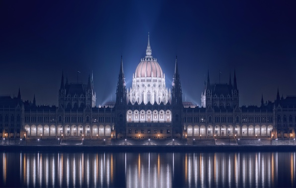 Picture night, lights, reflection, river, the building, backlight, promenade, Parliament, Hungary, Budapest, The Danube