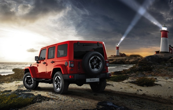 Picture sea, machine, light, shore, jeep, car, beacons, Jeep, 2015, Wrangler X