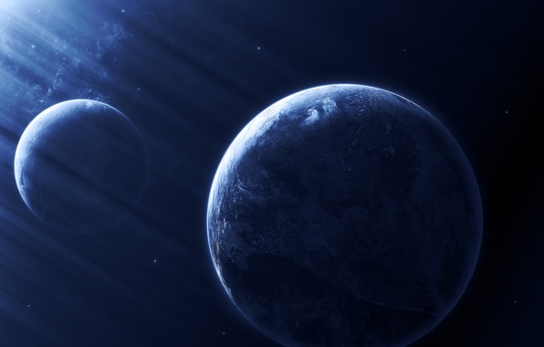 Photo Wallpaper Dark Blue Planets Sci FI Light Effect