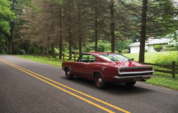 Picture road, auto, trees, road, muscle car, Fastback, Barracuda, Plymouth, 1968, muscle, Formula S