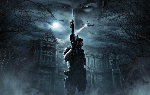 Picture cinema, gun, pistol, house, game, forest, soldier, armor, sky, weapon, cloud, Resident Evil, man, Umbrella, …