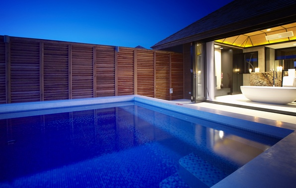 Picture water, light, night, house, room, interior, pool, bath, light, house, pool, water, night, bath, 1920x1080, …