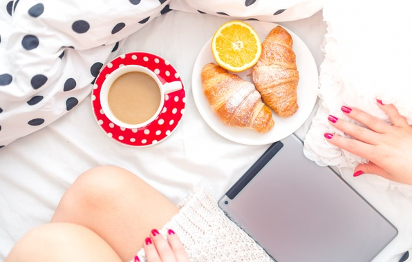 Picture girl, feet, coffee, Breakfast, morning, bed, tablet, croissants