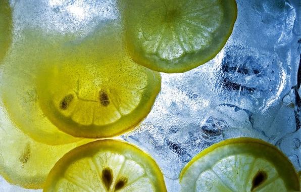 Picture ice, macro, pieces, citrus, lemons