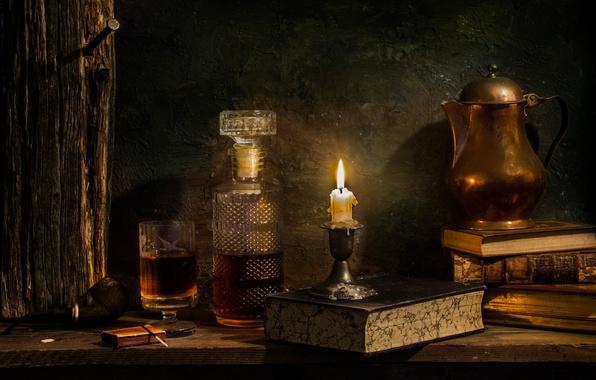 Photo Wallpaper Decanter Books Candle Wine Single Malt