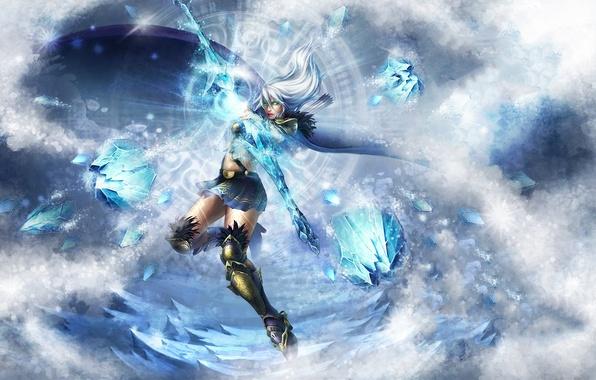 Picture ice, girl, magic, bow, Archer, cloak, arrows, Blizzard, league of legends, Ashe