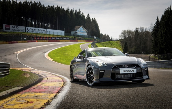 Picture car, auto, track, silver, Nissan, GT-R, front view, Nissan, track