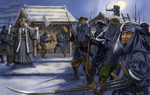 Picture figure, art, swords, katana, costumes, spears, samurai, the Japanese, wakizashi, the artist is Johnny Shumate