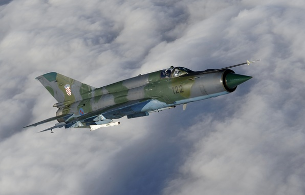 Photo wallpaper clouds, the plane, Soviet, fighter, multipurpose, the sky, The MiG-21, clouds