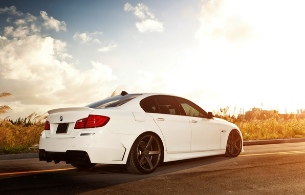 Photo wallpaper light, tuning, clouds, 5 series, white, bmw, BMW