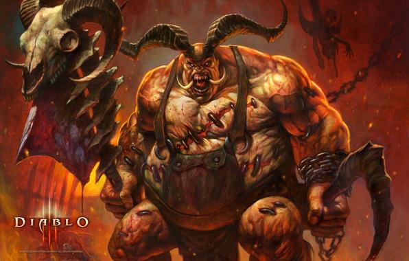 Picture blood, monster, horns, axe, Diablo III, Blizzard Entertainment, demon., butcher, butcher, flesh