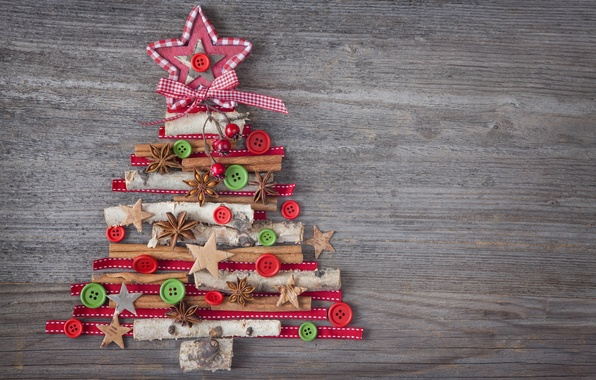 Photo wallpaper decoration, tree, New Year, Christmas, Christmas, vintage, wood, tree, decoration, Merry
