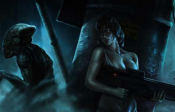 Picture girl, weapons, smoke, monster, art, machine, alien, hiding