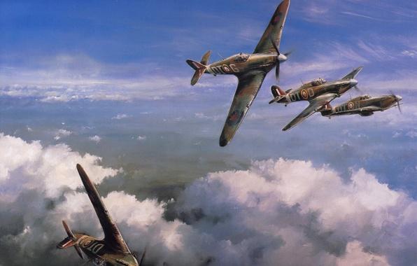 "Picture the sky, figure, art, fighters, Hawker Hurricane, WW2, British, single, ""Hawker hurricane"""