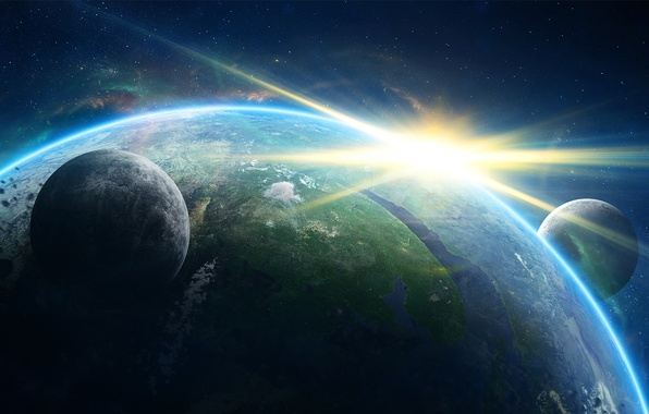Picture the sun, space, earth, star, planet, satellites