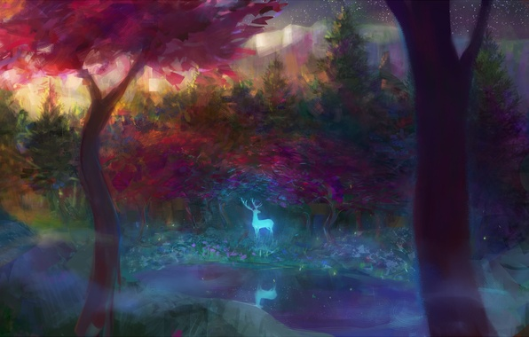 Picture forest, trees, fog, stream, glow, spirit, deer, art