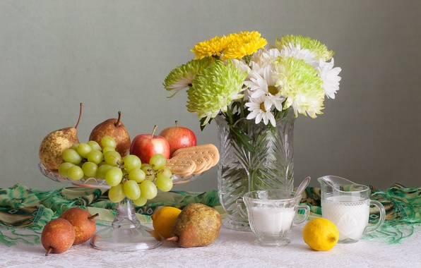 Picture flowers, lemon, Apple, bouquet, cookies, grapes, fruit, still life, pear, chrysanthemum