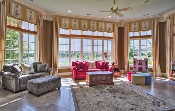 Picture design, room, sofa, carpet, interior, pillow, window, hall, living room