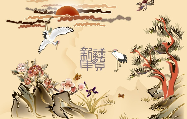 Picture the sun, trees, flowers, birds, characters, Chinese motifs
