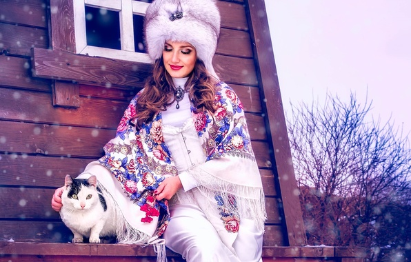 Picture winter, cat, girl, snow, hat, shawl, fur, ethno