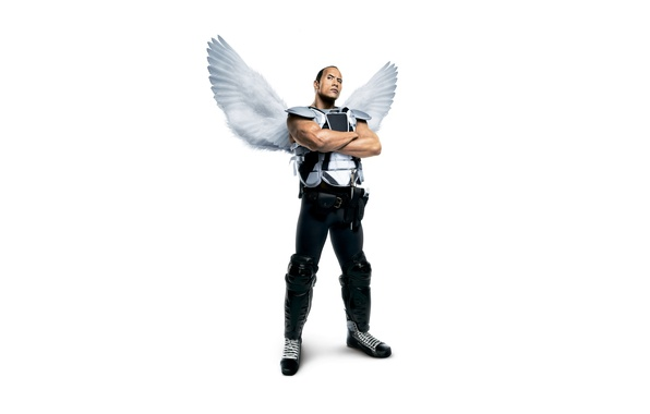 Picture wings, angel, fantasy, white background, athlete, form, poster, muscles, Dwayne Johnson, hockey player, Dwayne Johnson, …
