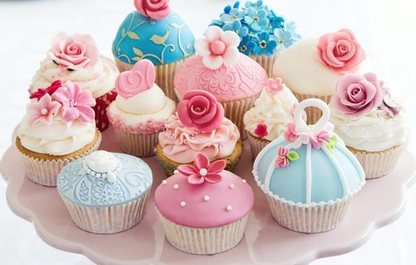 Photo wallpaper flowers, form, heart, cream, dessert, cupcakes
