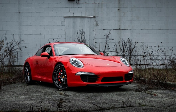 Picture red, wall, 911, supercar, porsche, Porsche