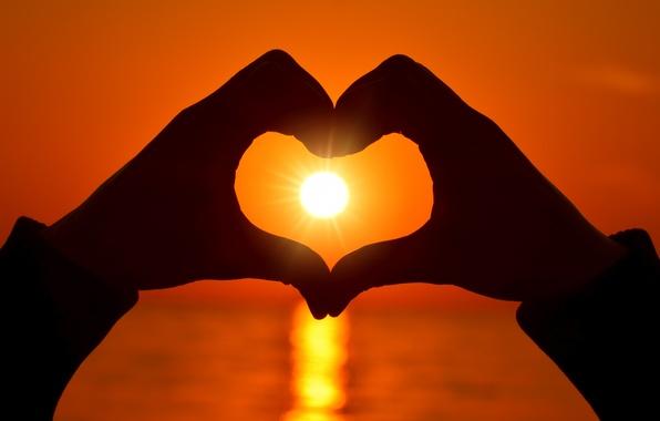 Picture love, heart, love, heart, sunset, romantic, hands