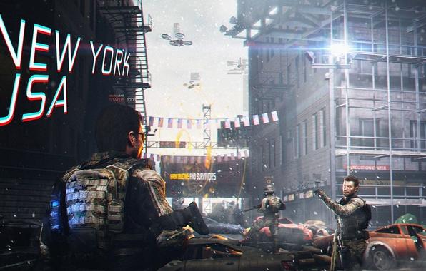 Picture street, soldiers, art, rendering