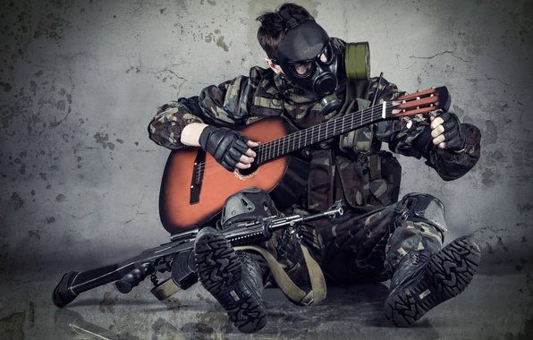 Picture hope, guitar, the situation, blur, mask, machine, gas mask, camouflage, Stalker, lull, military, setting, equipment, …
