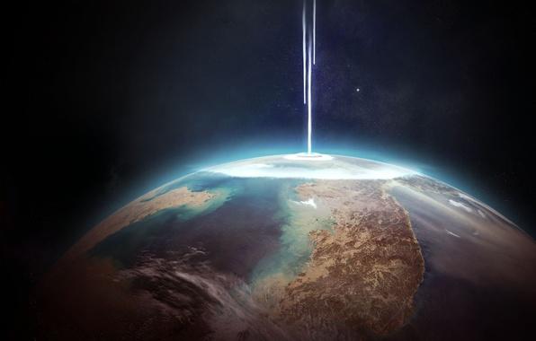 Picture energy, planet, destruction, sci fi, collision