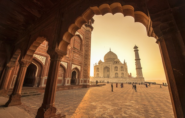 Picture India, Taj Mahal, mosque, the mausoleum, Agra, Taj Mahal, Agra, India