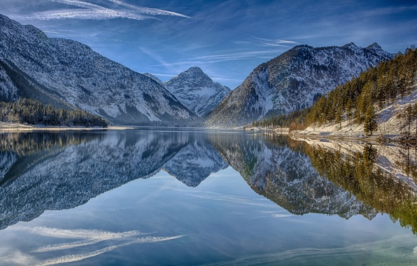 Picture mountains, reflection, Austria, Alps, Austria, Alps, Tyrol, Tirol, lake Plansee, Lake Plansee