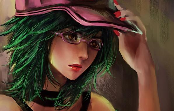 Picture girl, hand, art, glasses, cap, manicure, RikaMello