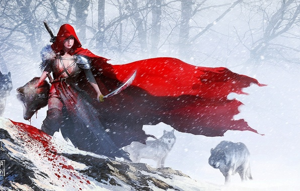 Picture girl, snow, weapons, blood, sword, little red riding hood, head, art, wolves, Red Riding Hood