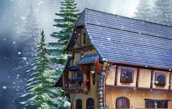 Picture winter, snow, house, photo, the fence, spruce, 3D graphics