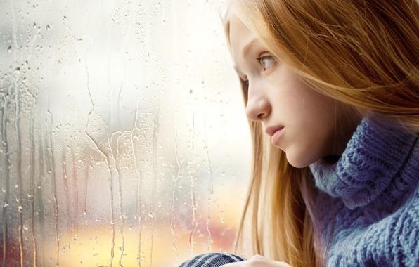 Picture sadness, girl, rain, window