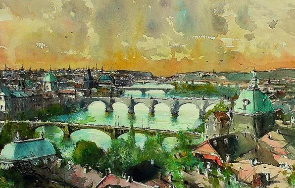 Picture river, picture, Prague, watercolor, panorama, bridges, the urban landscape, Maximilian DAmico