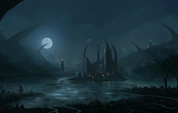 Picture night, lights, lake, the moon, people, island, sword, art, ruins, armor, blinck