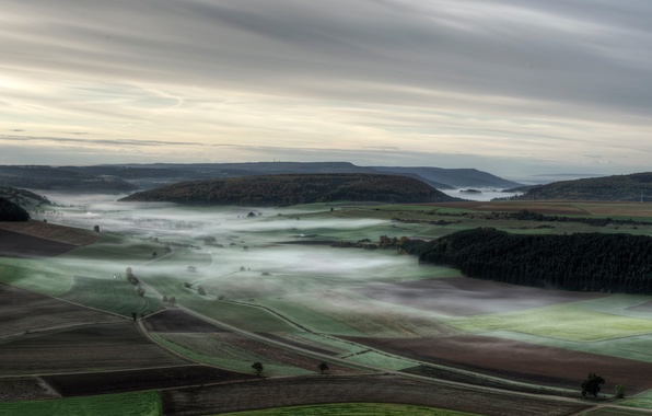 Picture autumn, fog, field, HDR, treatment, morning, Germany, haze, forest, valley