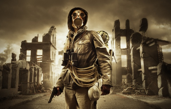 Picture the sky, gas mask, Stalker, ruins, rope