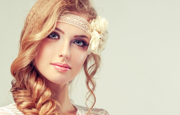 Picture flower, look, girl, face, smile, makeup, braid