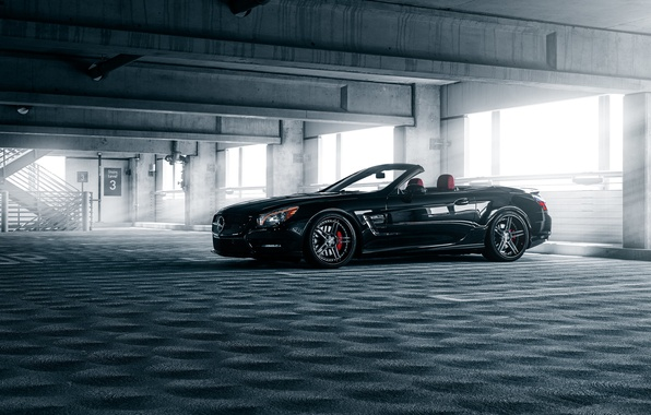 Picture Mercedes-Benz, Car, Front, Black, Parking, Cabrio, SL550