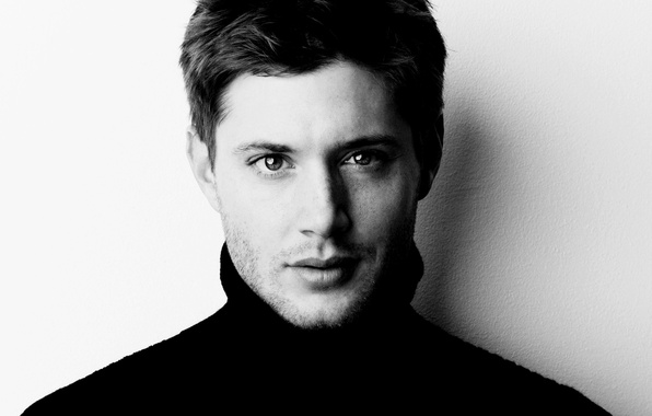 Picture face, actor, the series, Jensen Ackles, black-and-white background, supernatural, supernatural, Jensen Ackles, dean winchester, Dean …