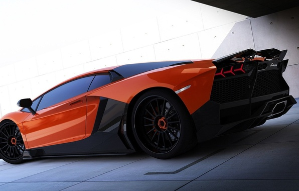 Picture Lamborghini, carbon, red, Aventador