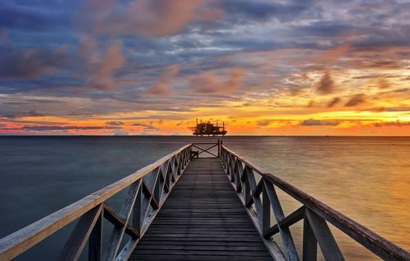 Picture sea, clouds, sunset, clouds, pierce, platform