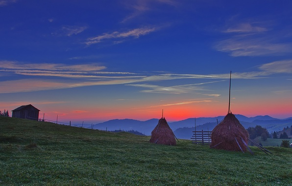 Picture field, the sky, clouds, trees, landscape, sunset, mountains, the evening, stack, horizon, meadow, glow, house, ...