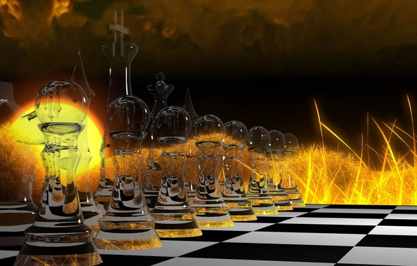 Picture glass, abstraction, fire, the game, chess, abstract, cells, fire, glass, Board, game, figure, strategy, strategy, …