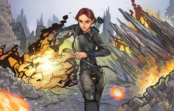 Picture girl, the explosion, bow, art, ruins, arrows, Archer, hunger games, Katniss Everdeen
