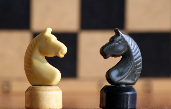 Picture horse, white, black, chess, figure